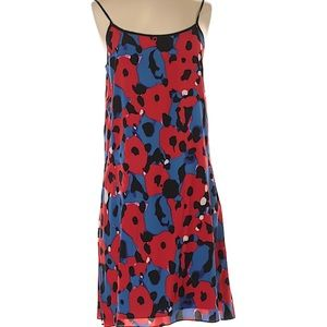 Red and blue printed DKNY silk dress